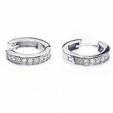 Серебряные серьги-кольца Дороти с фианитами