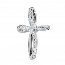 Крестик из белого золота Грация с бриллиантами