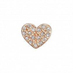 Серьга-пуссета в одно ухо из красного золота с кристаллами Swarovski 000135672