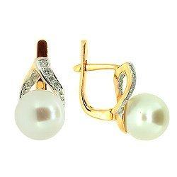 Золотые серьги с бриллиантами и жемчугом 000021829