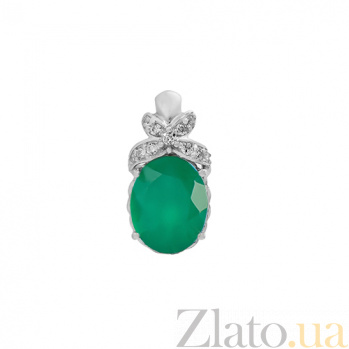 Серебряный кулон с зеленым агатом Свежесть 000029189