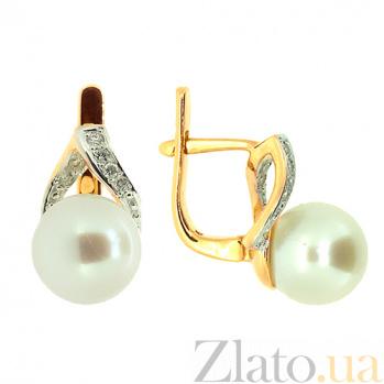 Золотые серьги с бриллиантами и жемчугом Сафина ZMX--EP-6268_K