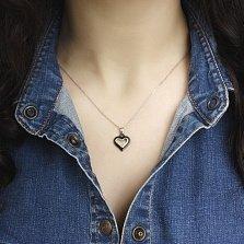 Серебряная подвеска-сердце Тутси с родием и черной керамикой
