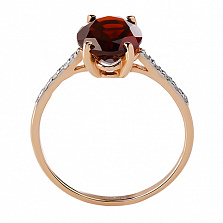 Кольцо из красного золота с гранатом и бриллиантами Сандра