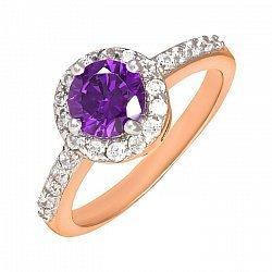 Серебряное кольцо с фиолетовым фианитом и позолотой 000025436