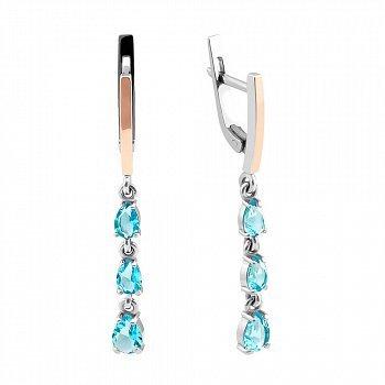 Серебряные серьги-подвески с золотыми вставками и голубым алпанитом 000082140