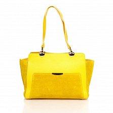Деловая сумка из кожи и замши Genuine Leather 8939 желтого цвета на молнии, с нашивным карманом
