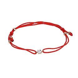Браслет из красной шелковой нити и красного золота с фианитом 000141620