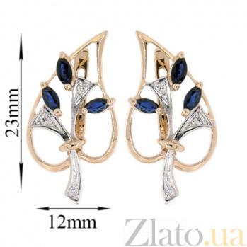 Золотые серьги с бриллиантами и сапфирами Диля ZMX--ES-6286_K