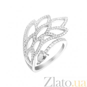 Серебряное кольцо Жар Птица с зеленым и белыми фианитами 000081538
