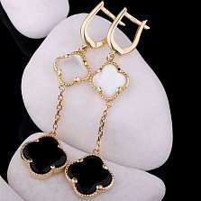 Золотые серьги-подвески Дарна с ониксом и перламутром в стиле Ван Клиф
