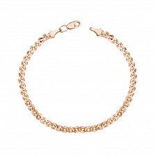 Золотой браслет в красном цвете Нонна с алмазной гранью
