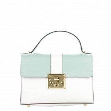 Кожаная деловая сумка Genuine Leather 8644 бело-голубого цвета с клапаном на механическом замке