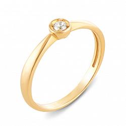Кольцо из желтого золота с фианитом 000136734