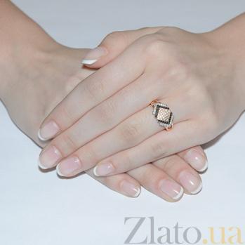 Золотое кольцо с черным и белым цирконием Геометрия 12213/ч сп