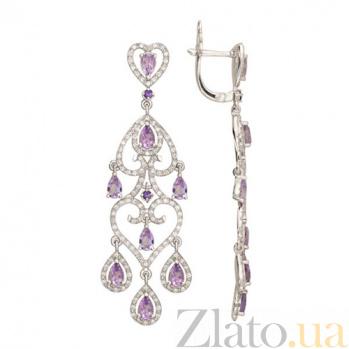 Серьги-подвески Паулина в белом золоте с фиолетовыми цирконами VLT--ТТТ2408