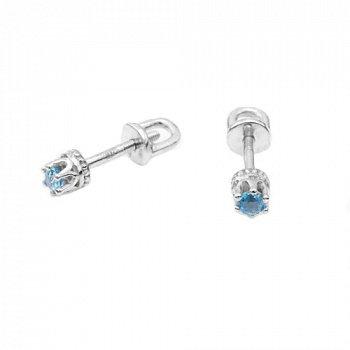 Серебряные серьги-пуссеты с голубыми топазами и родированием 000050741