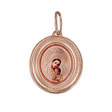 Золотая ладанка с эмалью Богородица