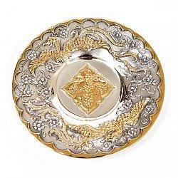Серебряное блюдце Цветы и птицы с позолотой
