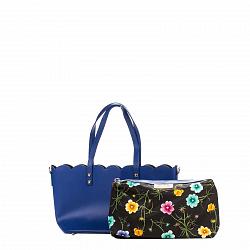 Кожаная сумка на каждый день Genuine Leather 7770 синего цвета сс дополнительной сумкой-вкладышем