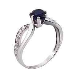 Серебряное кольцо с сапфиром и фианитами 000136272