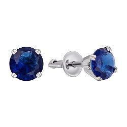 Серебряные серьги-пуссеты с синими фианитами 000120616