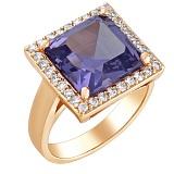 Золотое кольцо Север с корундом александрита и фианитами