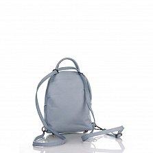 Кожаный рюкзак Genuine Leather 8002 нежно-голубого цвета с накладным карманом на молнии