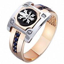 Золотая мужская печатка Щит и меч с черным ониксом, сапфирами и бриллиантами