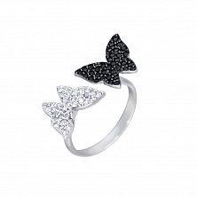 Серебряное кольцо Бабочки с чёрными и белыми фианитами