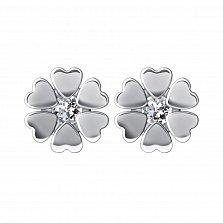 Серебряные серьги-пуссеты Цветок с лепестками-сердечками и топазом