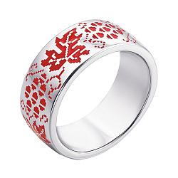 Серебряное кольцо с красной эмалью 000133714