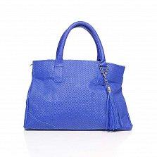 Кожаная сумка на каждый день Genuine Leather 8907 синего цвета на молнии с декоративной кистью