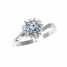 Серебряное кольцо Наоми с голубым топазом