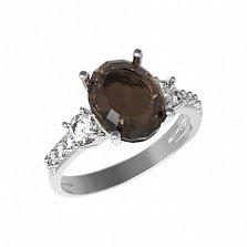 Серебряное кольцо Тиффани с раухтопазом и фианитами