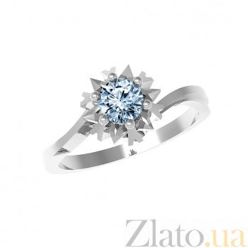 Серебряное кольцо Наоми с голубым топазом 000079713