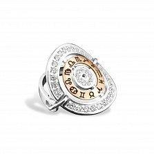 Серебряное кольцо Зодиак в стиле Bulgari с золотой вставкой и фианитами