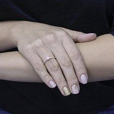 Золотое наборное кольцо Трансформация в красном цвете с дорожками фианитов