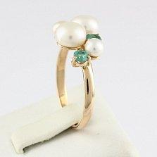 Золотое кольцо Ягодный десерт с изумрудами и жемчугом