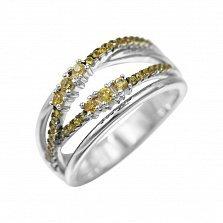 Серебряное кольцо Музыка лета с цитрином и желтыми фианитами