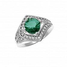 Серебряное кольцо Спарта с изумрудом и фианитами