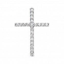 Декоративный крестик из белого золота с бриллиантами 000126567