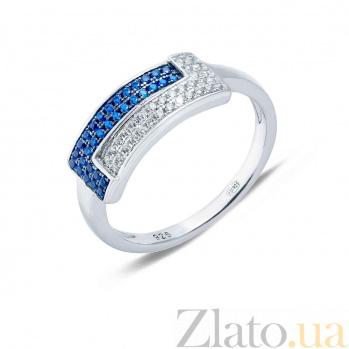 Кольцо серебряное с усыпками белого и синего циркона Сходство AQA--KHR-0025-1s
