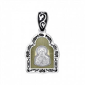 Ладанка из серебра Святой Николай Чудотворец с эмалью 000145988