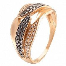 Золотое кольцо с черными бриллиантами Варвара