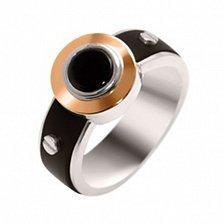 Серебряное кольцо с золотой вставкой, ониксом и каучуком Альберт