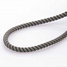Шелковый серый шнурок Ассир с серебряной застежкой, 3мм