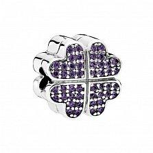 Серебряный шарм Клевер с фиолетовым цирконием в стиле Пандора