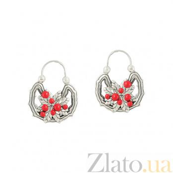 Серебряные серьги с эмалью Лесные ягоды 3С203-0046