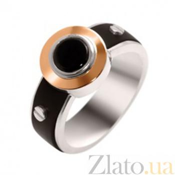 Серебряное кольцо с золотой вставкой, ониксом и каучуком Альберт 000029488